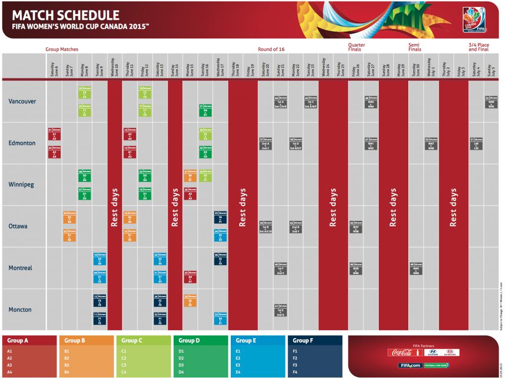 Le calendrier de la coupe du monde f minine d voil nouvelles photos vid os - Coupe du monde 2015 calendrier ...