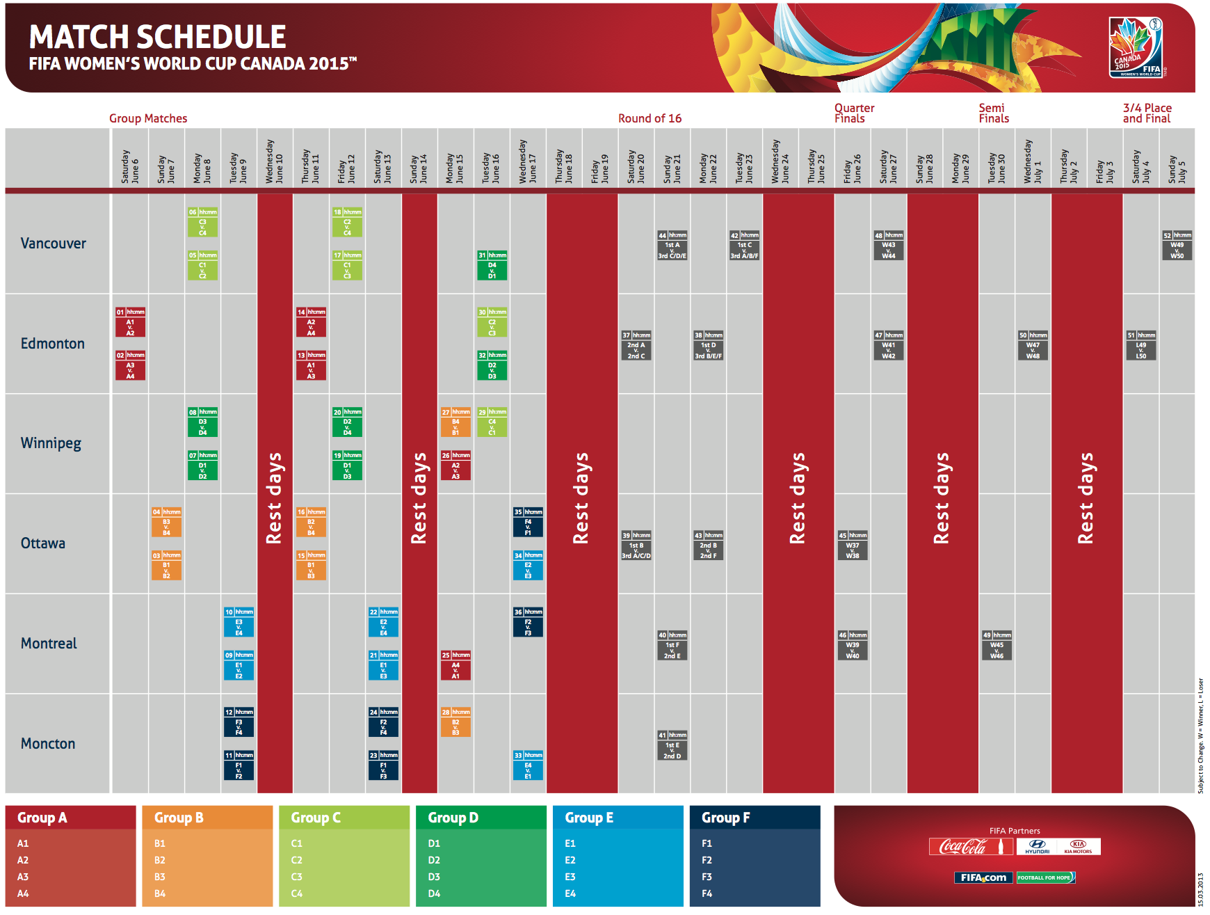 Le calendrier de la coupe du monde f minine d voil le - Coupe du monde feminine de la fifa canada 2015 ...